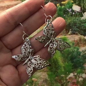 Silver butterfly earrings 925 ooak boho bohemian